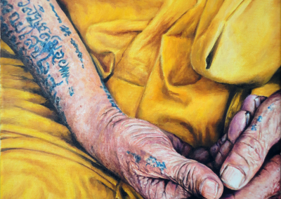 Oil on canvas painting - Monk's Hands